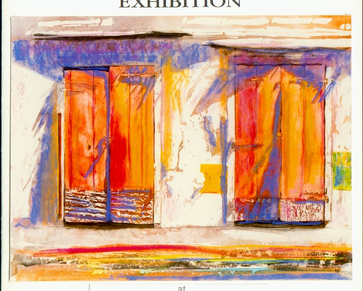 "red doors basseterre st kitts - micheal zarowsky - 22"" x 30"" watercolour and pastel on arches paper"