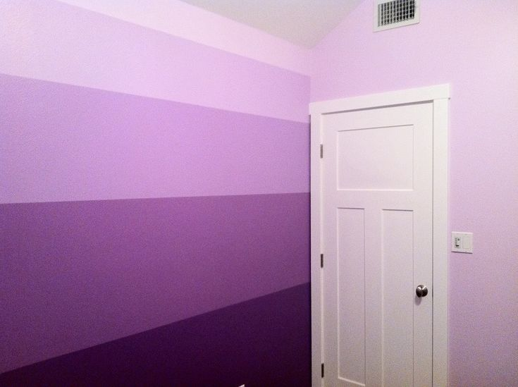DIY Ombré purple striped wall. Craftsman style door.  Beautiful girls room that will grow with her.