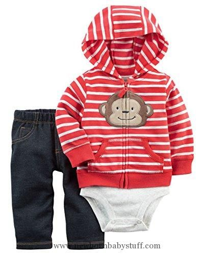 Baby Boy Clothes Carter's Baby Boys Cardigan Sets 121h264, Red, 9 Months Baby