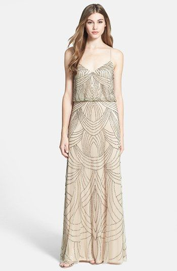 Adrianna Papell Beaded Chiffon Blouson Dress available at #Nordstrom art deco vintage 1920s spaghetti strap gatsby