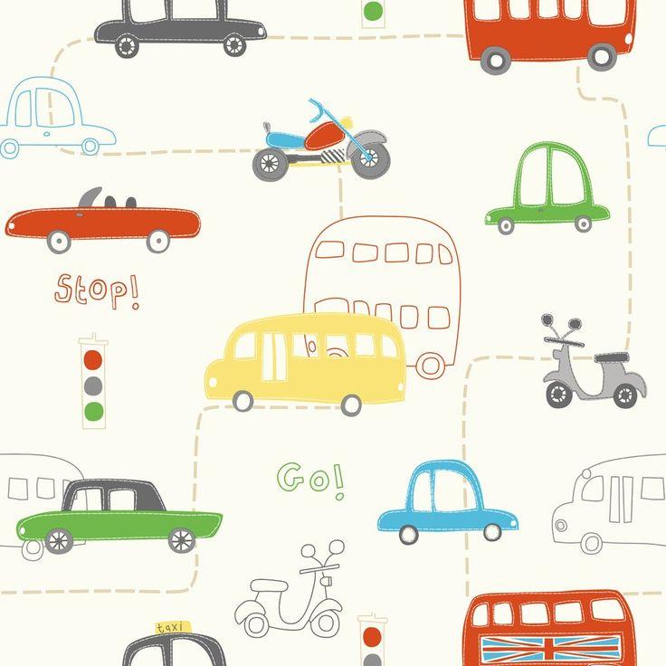 Fine Decor Rush Hour Hoopla Wallpaper Red / Green / Yellow - Childrens Wallpaper from I love wallpaper UK