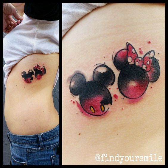 19 Adorable Disney Character Mickey and Minnie Mouse Tattoos