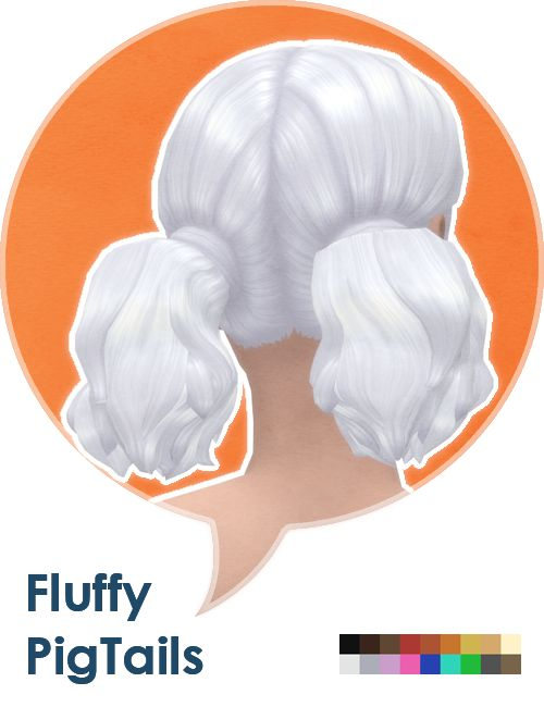 Some fluffy pigtails for adult sims: ◦ Teen to elder. ◦ All 18 EA colors. ◦ Feminine fashion style. ◦ Hat compatible. ◦ Basegame compatible. Download @ MediaFire Download @ SimFileShare