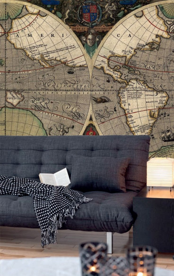 7 best old vintage world map murals walls republic for Pixers your walls and stuff