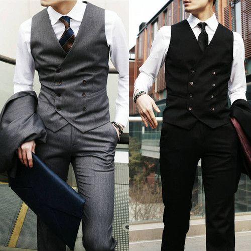 New Top Design Mens Casual Double Breasted Slim Suit Tuxedo Dress Vest Waistcoat | eBay