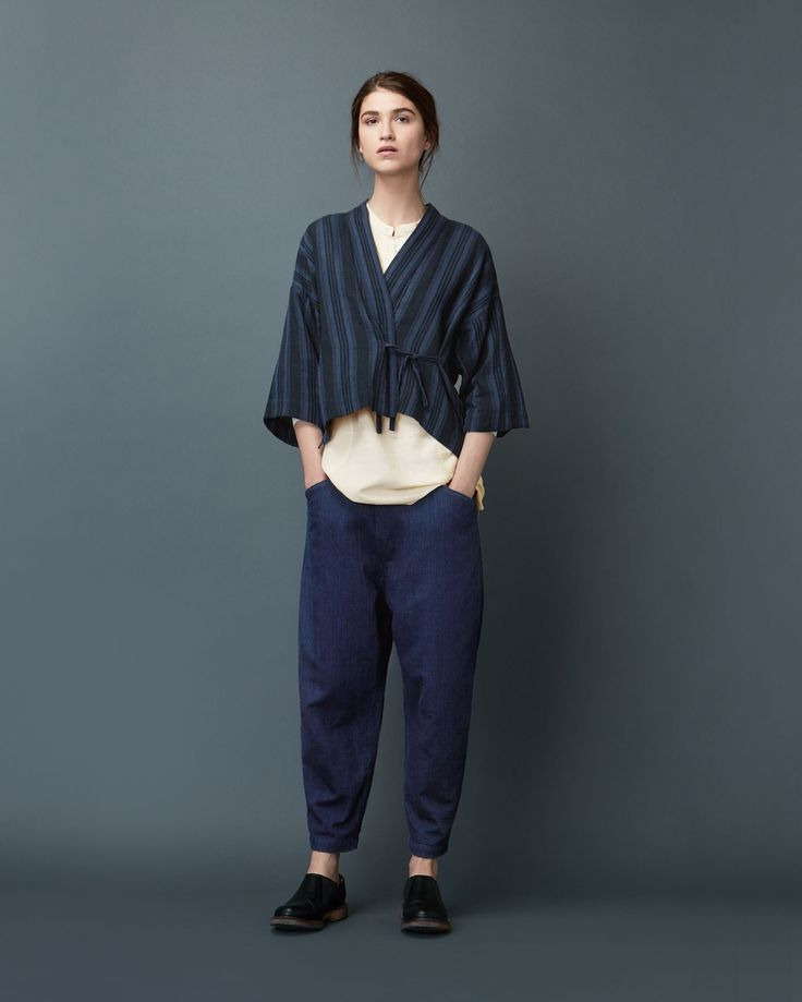 Womens Wool Cotton Blue Levantine Stripe Kyoto Top | TOAST