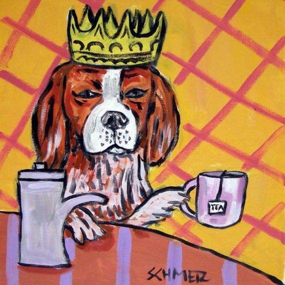 Cavalier King Charles Steeping Tea Dog Art Tile coaster gift JSCHMETZ MODERN abstract folk pop art AMERICANA