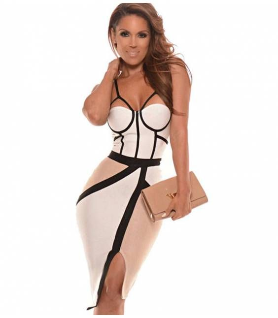 LUXURY ΜΙΝΤΙ ΦΟΡΕΜΑ ΜΕ ΓΕΩΜΕΤΡΙΚΑ ΣΧΕΔΙΑ - Εντυπωσιακά bandage φορέματα