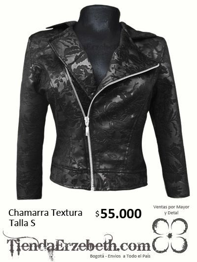 chamarra chaqueta cremalleras rockera textura tela flores dama mujer ropa barata bogota envios medellin yopal cali tunja pasto