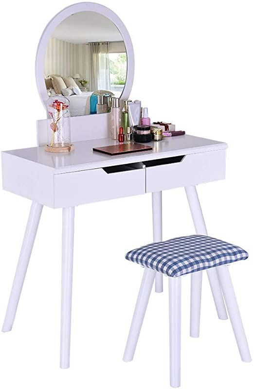 Pair Bed Stools: Dressing Table & Round Mirror 2 Large Sliding Drawer