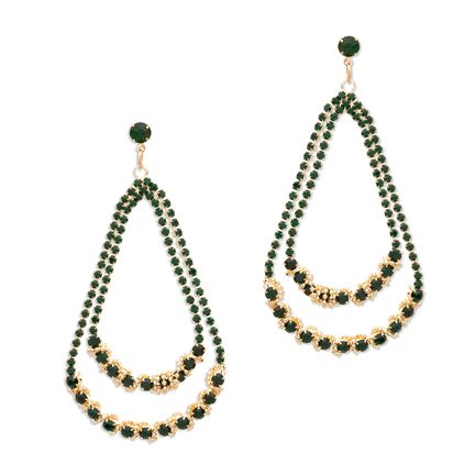 Achieving glamour is easy-CZ with the double loop drop Jayden earrings. A two-drop cascade of emerald CZ's, Jayden is made of sparkle. Pair these elegant beauties with a lariat necklace to extend the delicate look. Find it on Splendor Designs