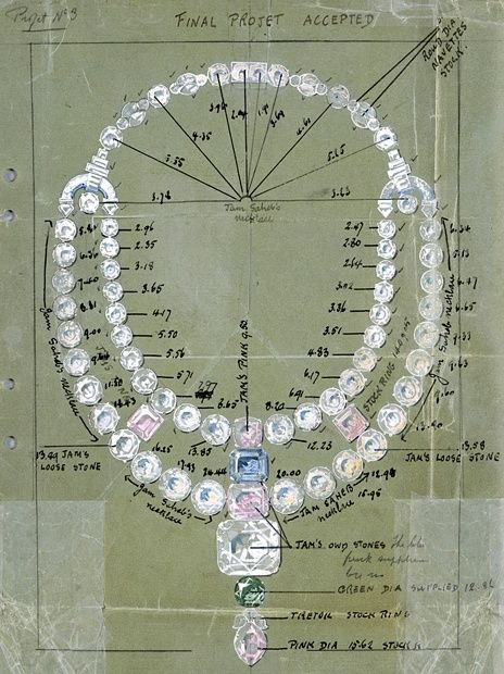 Drawing of the ceremonial necklace for the Maharajah of Nawanagar, Cartier, 1931.