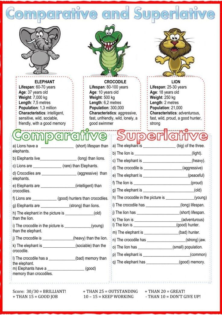 Comparative and superlative interactive and downloadable worksheets. Check your answers online or send them to your teacher.