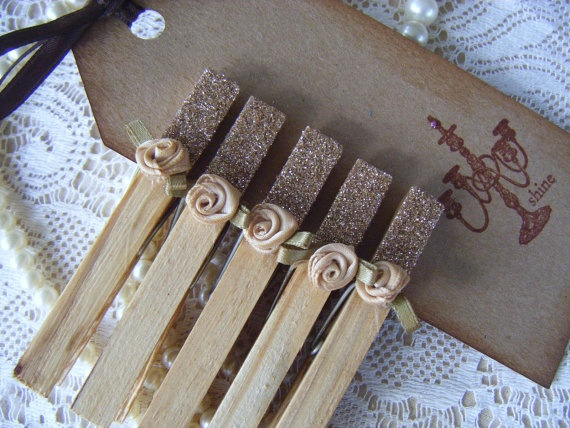 Shabby Chic  Rustic  Hand Dyed Clothespins and by inkpaperglitter