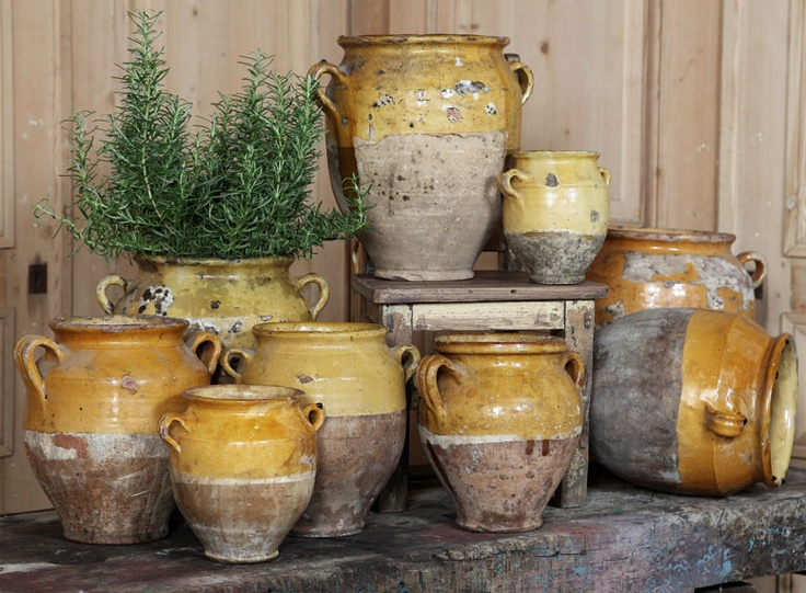 Antique Earthenware Confit Pots  ~~♥ the Rosemary in the pot, and the one on its side.