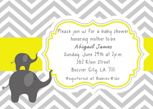 PRINTABLE Gray Yellow Elephants Chevron Baby Shower Invitation or Birthday Invitation - Colors can be changed. $12.00, via Etsy.