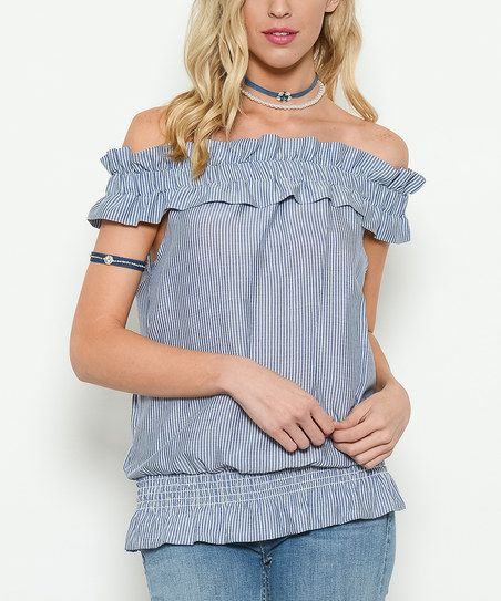 Add an on-trend statement to your ensemble in this chic off-shoulder top flaunting a flirty ruffle accent and classic stripe design for eye-catching appeal.