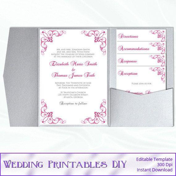 Pocket Wedding Invitation Set Diy Pink by WeddingPrintablesDiy