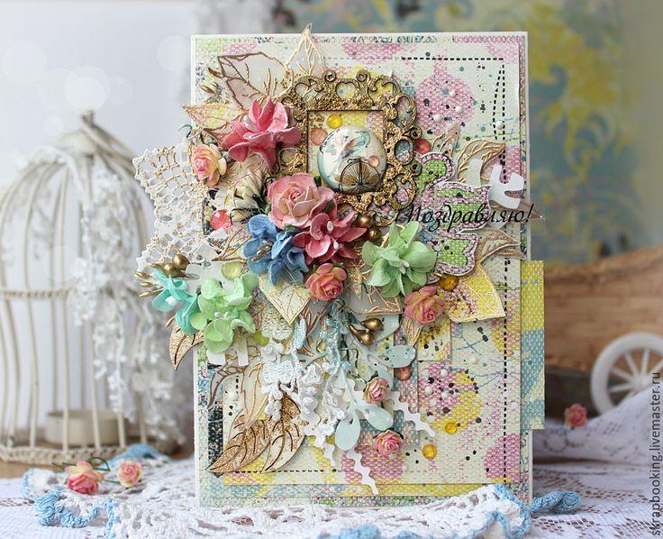 Купить Поздравительная открытка - кремовый, Скрапбукинг, scrapbooking, scrap, Открытка ручной работы, открытки