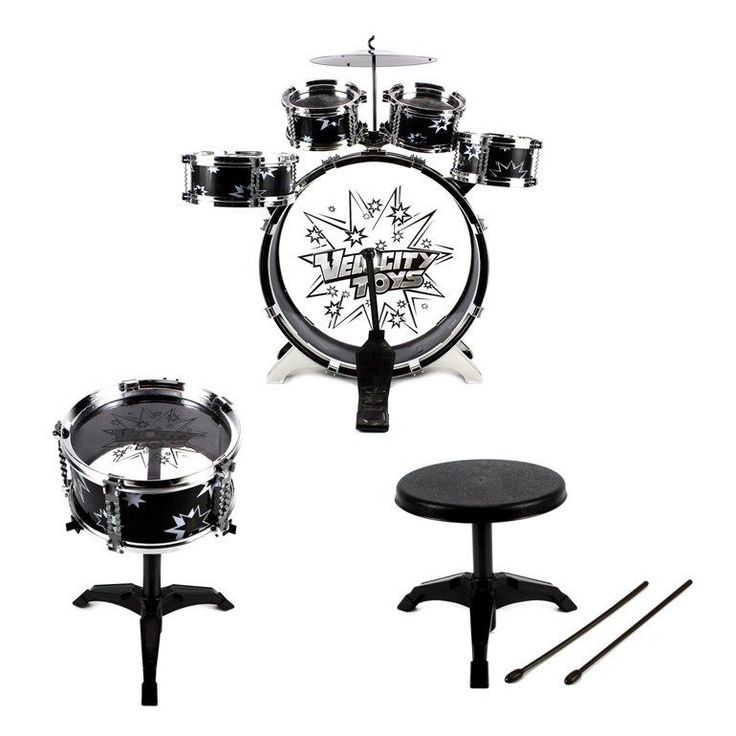Kids Drum Set For Beginners Toddlers Stool Black Kit Cymbals Musical Instruments