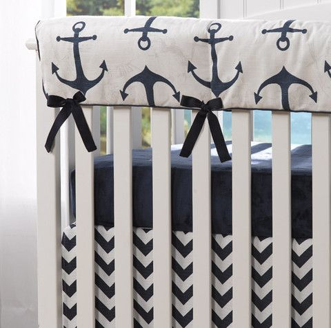 Navy Anchors Rail Teething Cover - Liz and Roo Fine Baby Bedding. This beautiful Anchors Rail Cover will look great in any nautical themed nursery. Mix and match with any of our navy separates for a custom look. Shop our American made crib bedding now at www.lizandroo.com