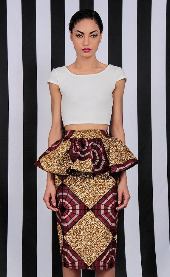 NEW The Kait Peplum Skirt by DemestiksNewYork on Etsy. #Africanfashion #AfricanWeddings #Africanprints #Ethnicprints #Africanwomen #africanTradition #AfricanArt #AfricanStyle #AfricanBeads #Gele #Kente #Ankara #Nigerianfashion #Ghanaianfashion #Kenyanfashion #Burundifashion #senegalesefashion #Swahilifashion DK