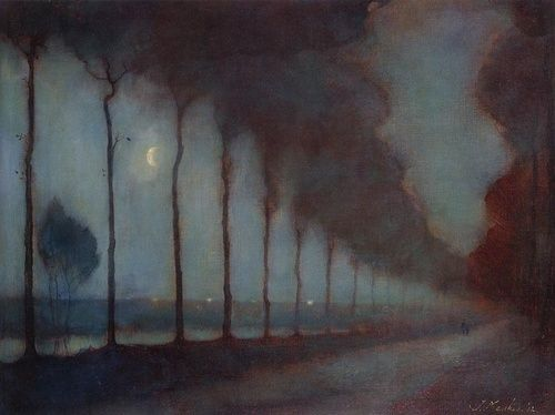 Evening Landscape with Moon, oil on canvas, 1912, by Jan Mankes