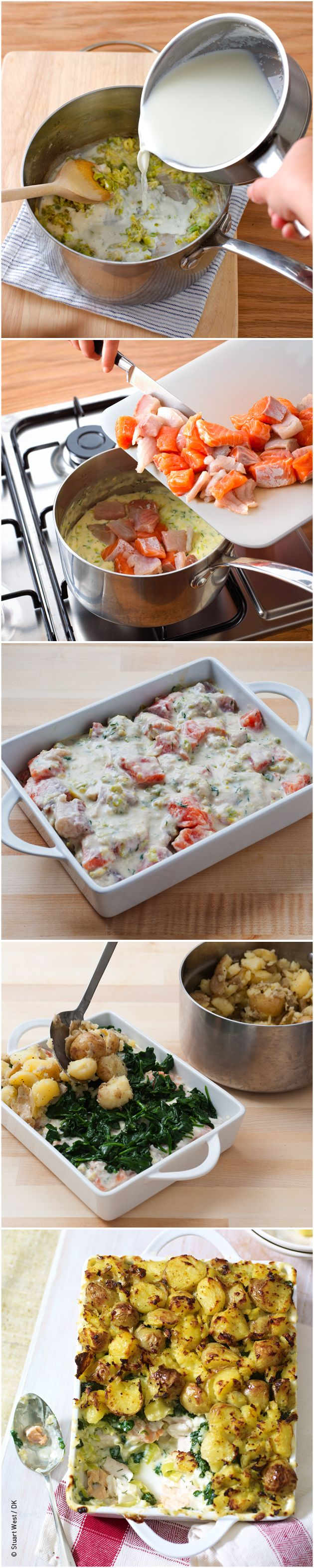 Recipe for fish pie with crushed potato topping from Mary Berry Cooks the Perfect.  #MaryBerry #CooksthePerfect #recipe #fishpie