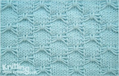 Use knit, purl stitches and slip stitch with yarn in front to create a butterfly bowknot pattern.