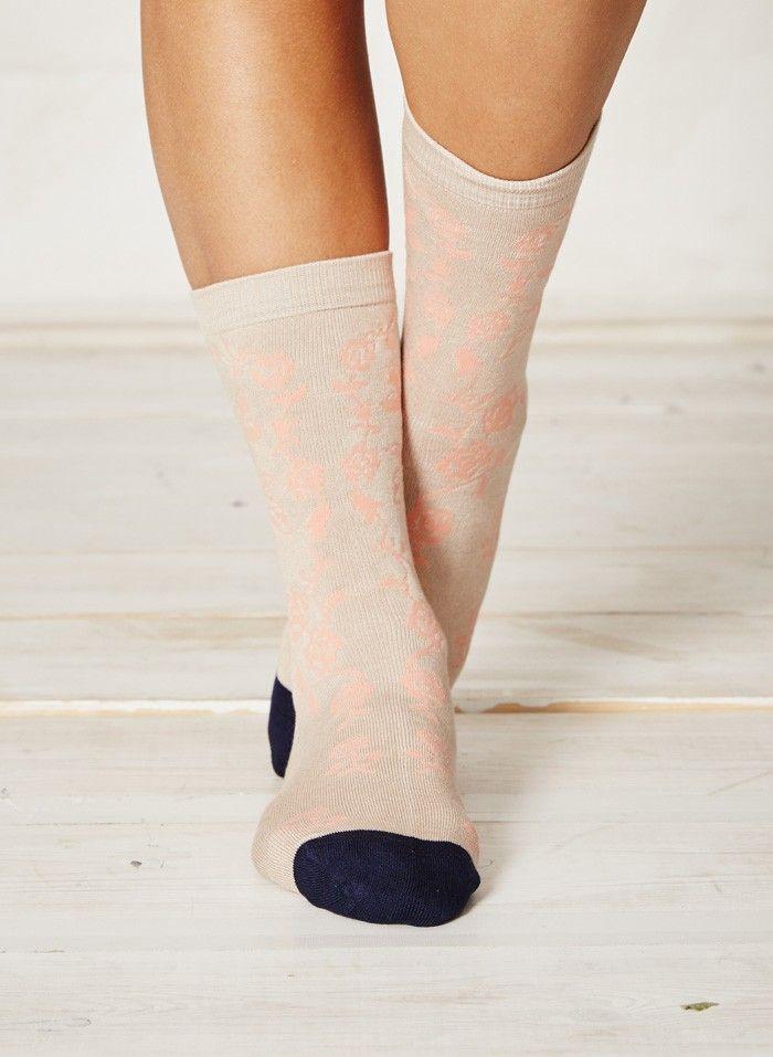 Peach floral bamboo socks
