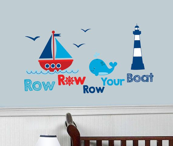 Nautical Nursery Wall Decals, Boat Decal, Nautical Decal, Kids Room Decal, Decal for kids, Sailing, Helm Decal, Ship decal