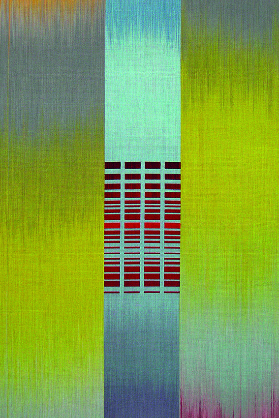 Ptolemy Mann, Citrine Aqua with Blue Band, 2005. Hand dyed and woven mercerised cotton. 50 x 80 x 4.5cm.