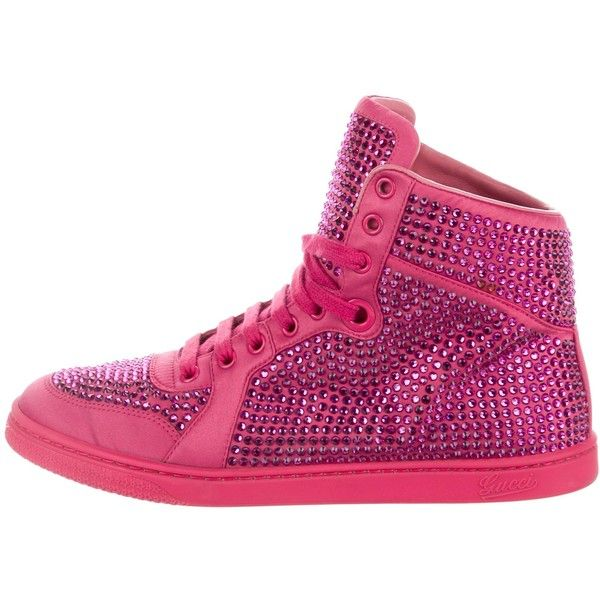 Pre-owned Gucci Strass High-Top Sneakers ($625) ❤ liked on Polyvore featuring shoes, sneakers, pink, pink high tops, pink sneakers, gucci trainers, round toe sneakers and high top trainers