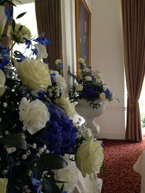 Blue and White wedding pedestal arrangements