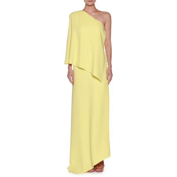 Agnona One-Shoulder Layered Crepe Gown ($4,990) ❤ liked on Polyvore featuring dresses, gowns, yellow, beige evening dress, one shoulder evening gowns, yellow evening dress, one sleeve dress and one shoulder evening dresses