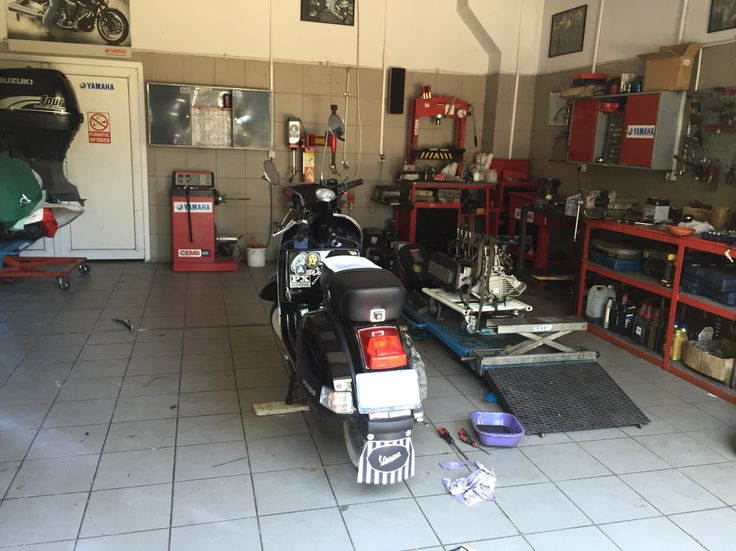 Vespa in the shop