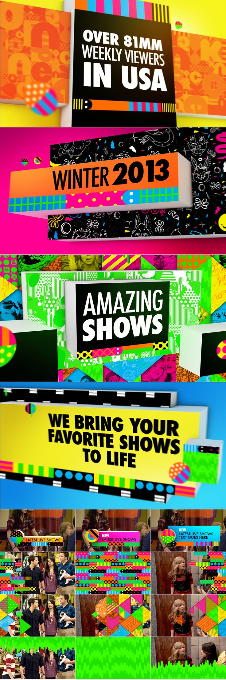 Style frames - motion graphic design - nickelodeon graphics and lower thirds