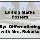 These posters include editing marks for adding end marks, capitalizing, checking spelling, inserting, reversing letters, deleting word or words, st...