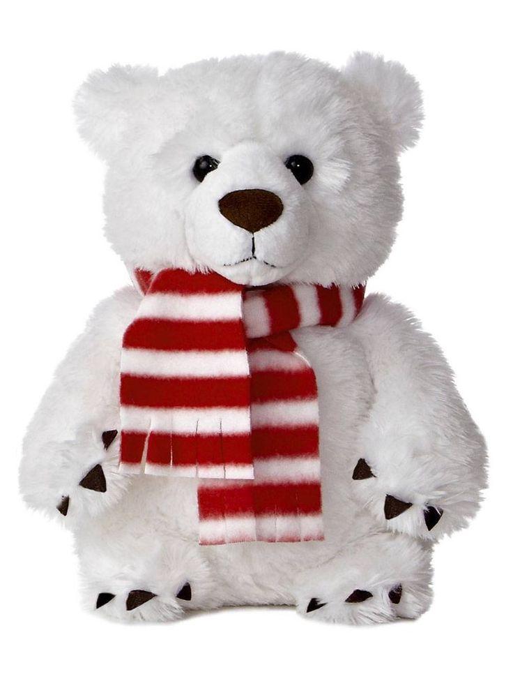 "10"" Aurora Plush White Teddy Bear ""Hellenbrand"" Holiday Stuffed Animal Toy 09781 #Aurora"
