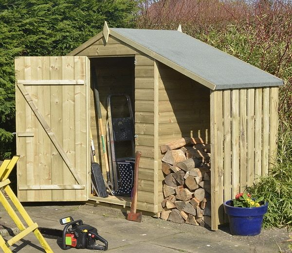 rowlinson 4ft x 3ft log and tool lean to shed - Garden Sheds 3ft Wide
