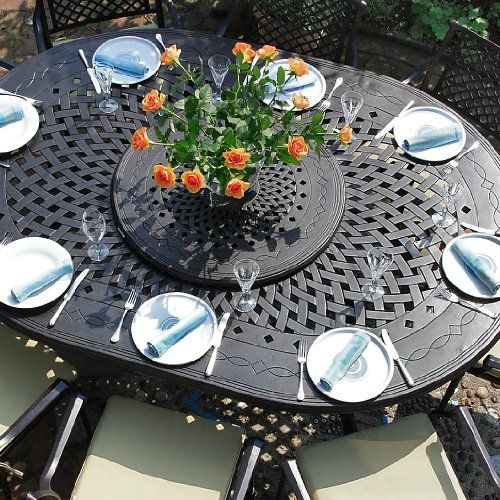 Gloria 210 x 150cm Ovales Gartenmöbelset Alu - 1 GLORIA Tisch + 8 JANE Stühle