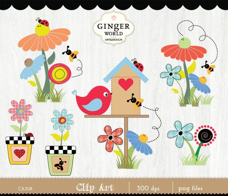 Garden Clip Art Spring Flower Clipart Birdhouse Country