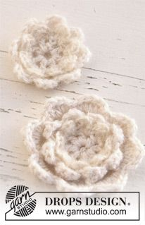 "Crochet DROPS flowers in ""Alpaca"" and 2 threads ""Kid-Silk"". ~ DROPS Design"