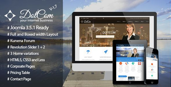 DotCom - Responsive Joomla Corporate Template . DotCom – is a creative, clients need, professional Joomla template which is powered by Gantry.                 Its a feature rich, flexible and easy to use template which may cover all of your needs.                 DotCom has Revolution Slider (25$ value), K2 Powered Blog,
