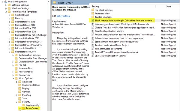 Prevent and block Macros from running in Microsoft Office using Group Policy