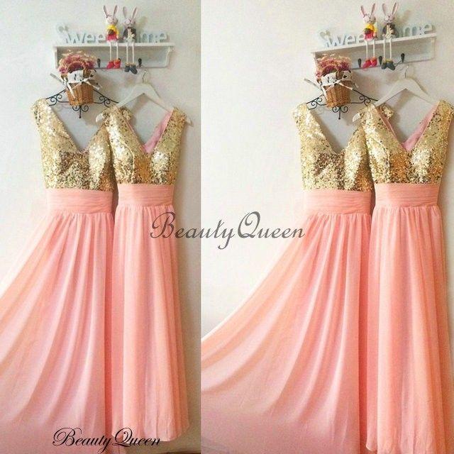 C Bridesmaid Dresses Sequins Dress Gold Maid Of Honor Long Chiffon V Neck