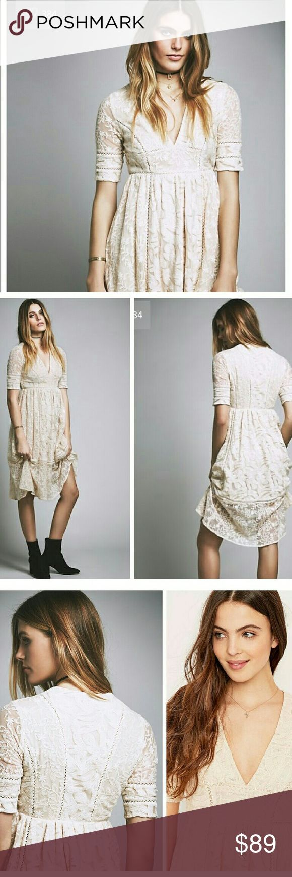 NWT FREE PEOPLE LAUREL LACE MIDI DRESS Sheer lace and crochet panels make up the overlay of a partially lined v-neck midi dress. Elbow length sleeves ,concealed side zip closure, all over embroidered mesh lace construction, crochet knit panel inserts. Incredibly romantic Boho Style! Almond color Free People Dresses Midi