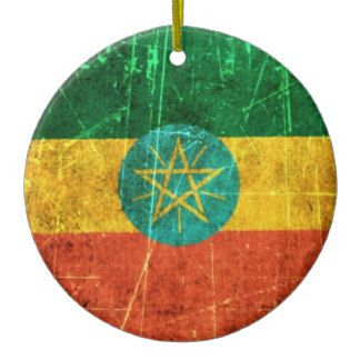 Scratched and Worn Vintage Ethiopian Flag Ceramic Ornament