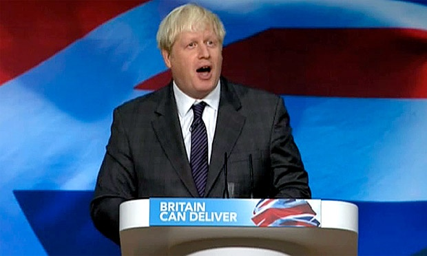 """""""They eat cake on the Champs-Elysées made in Waltham Forest,London"""" says Boris as he entertains the home crowd at the Conservative party conference. Boris jokes he and the Prime Minister danced 'Gangnam Style' the other day.    """"The Dutch ride bicycles made in London"""" Boris continues """"the Brazilians use mosquito repellent made in London."""" Boris saves the best to last """"every single chocolate Hob-nob in the world is made in London"""" to the laughs and applause of the audience."""