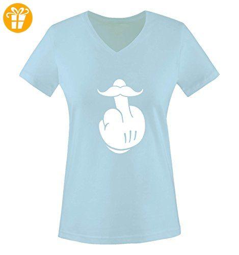 Comedy Shirts - COMIC HAND FUCK - SCHNURRBART - Damen V-Neck T-Shirt - Hellblau / Weiss Gr. S - Shirts mit spruch (*Partner-Link)